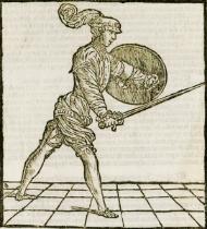 Bolognalaisenmiekan ja ison kilven, rotellan, käyttöä Achille Marozzon Opera Nova -kirjassa (1536)