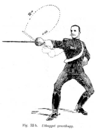 Kvarthugg eli kvarttilyönti Reinhold Silfvesvärdin kirjasta Handbok för undervisning i sabelfäktning till fot (1868)