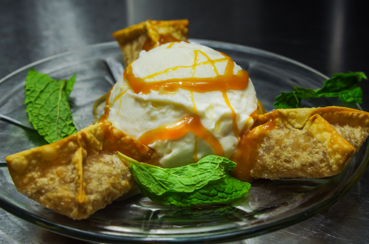 Spiced Apple Wontons w/ Crystallized Ginger Ice Cream