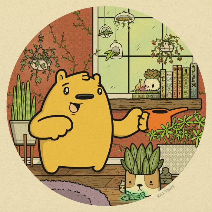 """A Good Life"" celebrates living simply. This yellow bear is just happy to tend to his many, many houseplants and then lose himself in a good book."