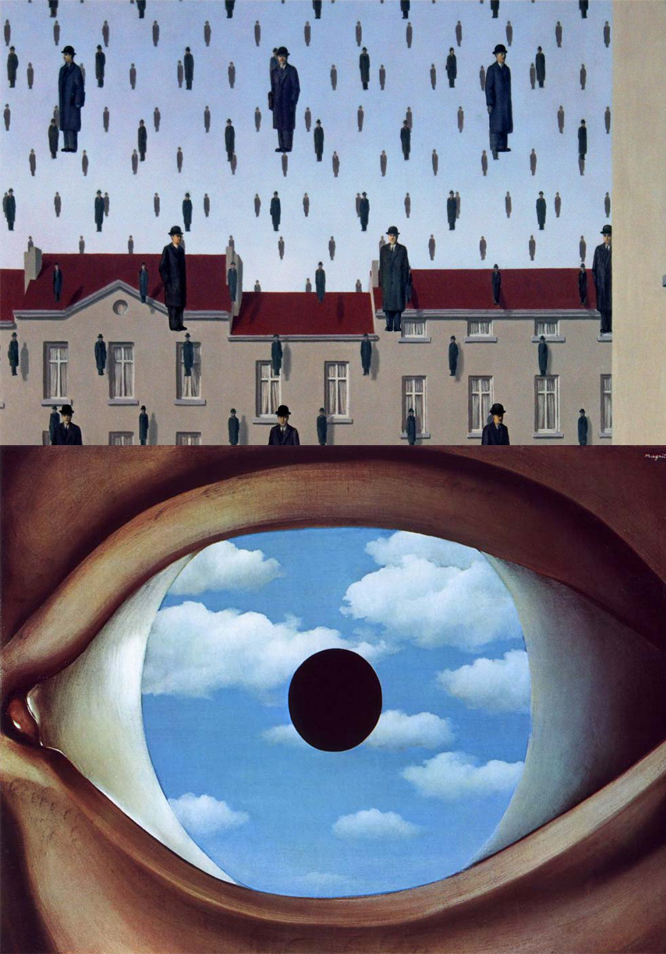 René Magritte,  Golconda , 1953; T he False Mirror , 1928