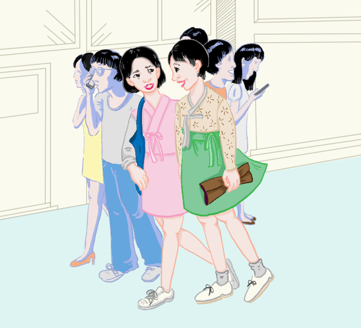 Young women strolling down the roads of Gangnam in modernized versions of the hanbok.