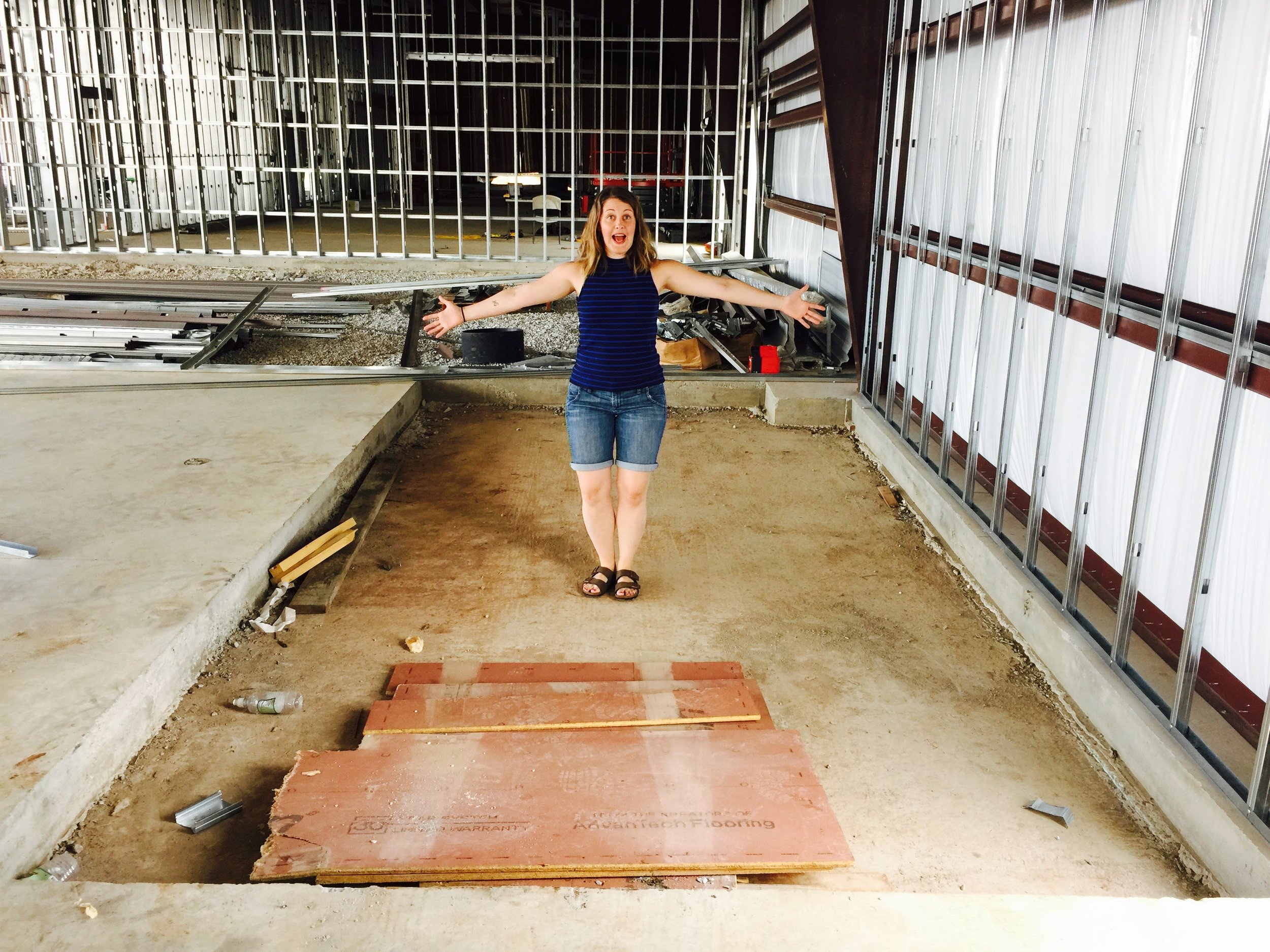 The space for our walk-in cooler and freezer. Finally had a chance to see, in person, how big this space would be!
