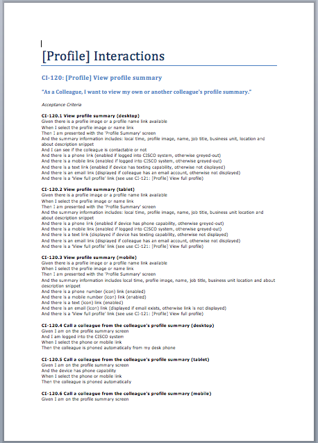 User Story: View profile summary