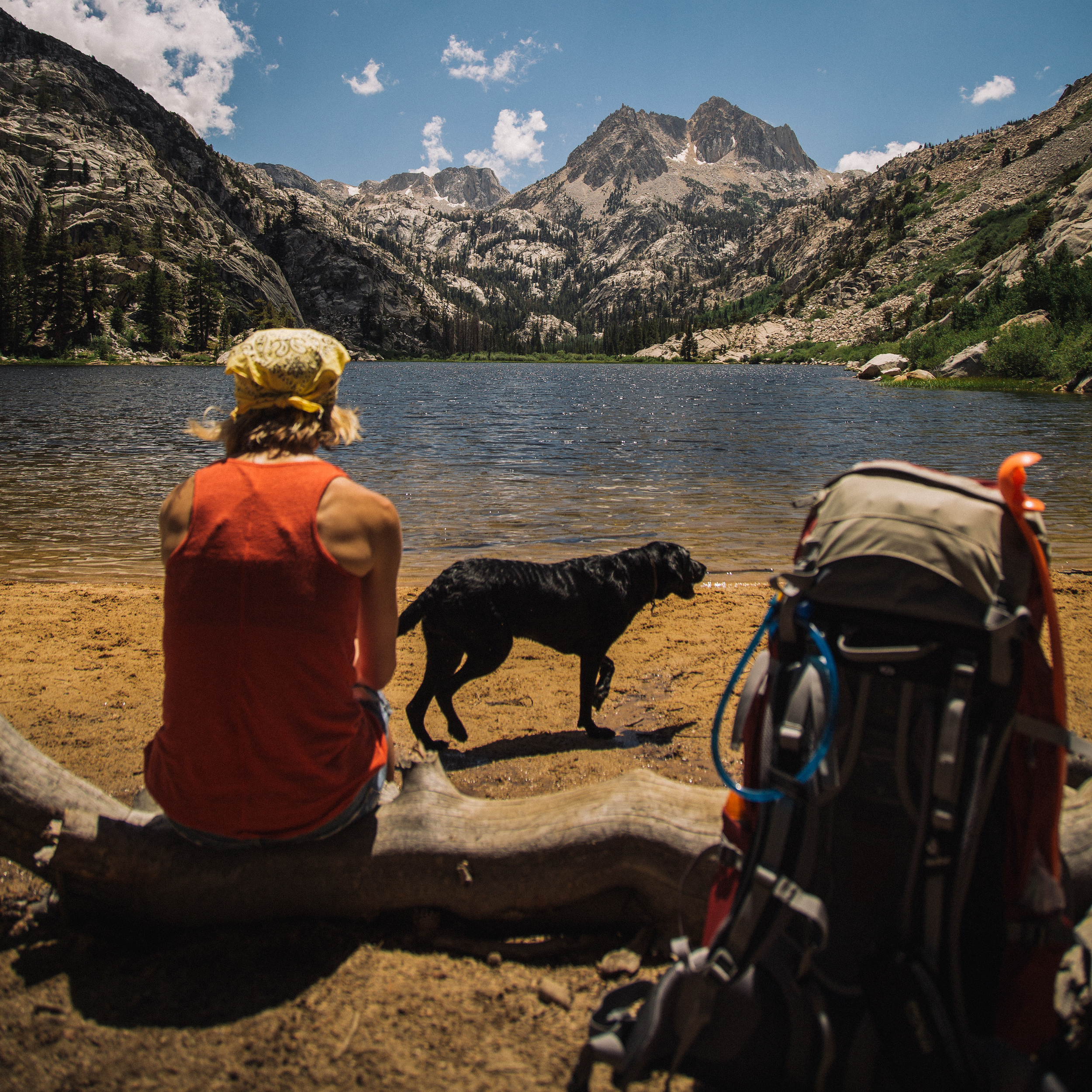 Hike up to Barney Lake in the Sierra Nevada Mountains. The beauty in this shot is my brother's one and only child, or um, dog, Evee.