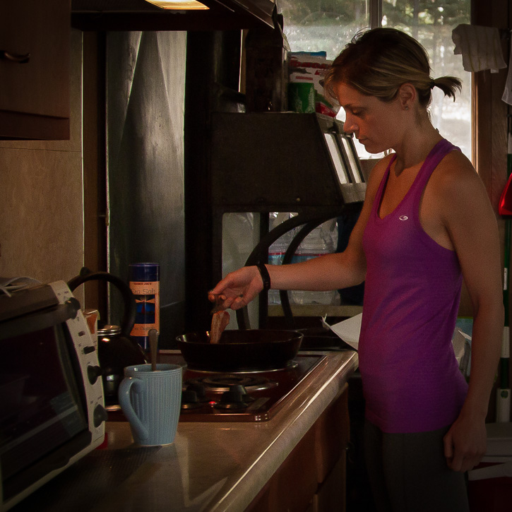 Making breakfast before the 10 miler up and down a mountain. I had no idea what I was in for when I started the day.