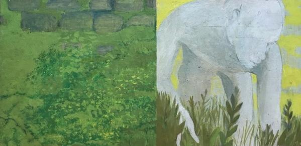 Hermann Piwitt im Garten der Villa Massimo  Eitempera auf Hartfaser 18.5x27cm  1972  PREIS: 500 EUR