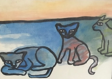 Drei Katzen am Meer  1995 höhe 16 breite 22   109euro
