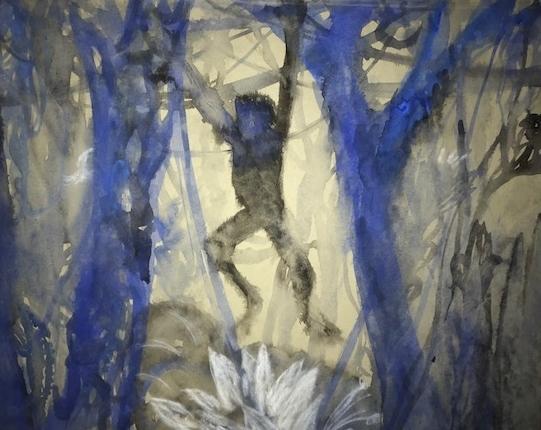 Dschungel 2  Aquarel auf Ingris Papier 48x60 CM  1982  PREIS: 333 EURO