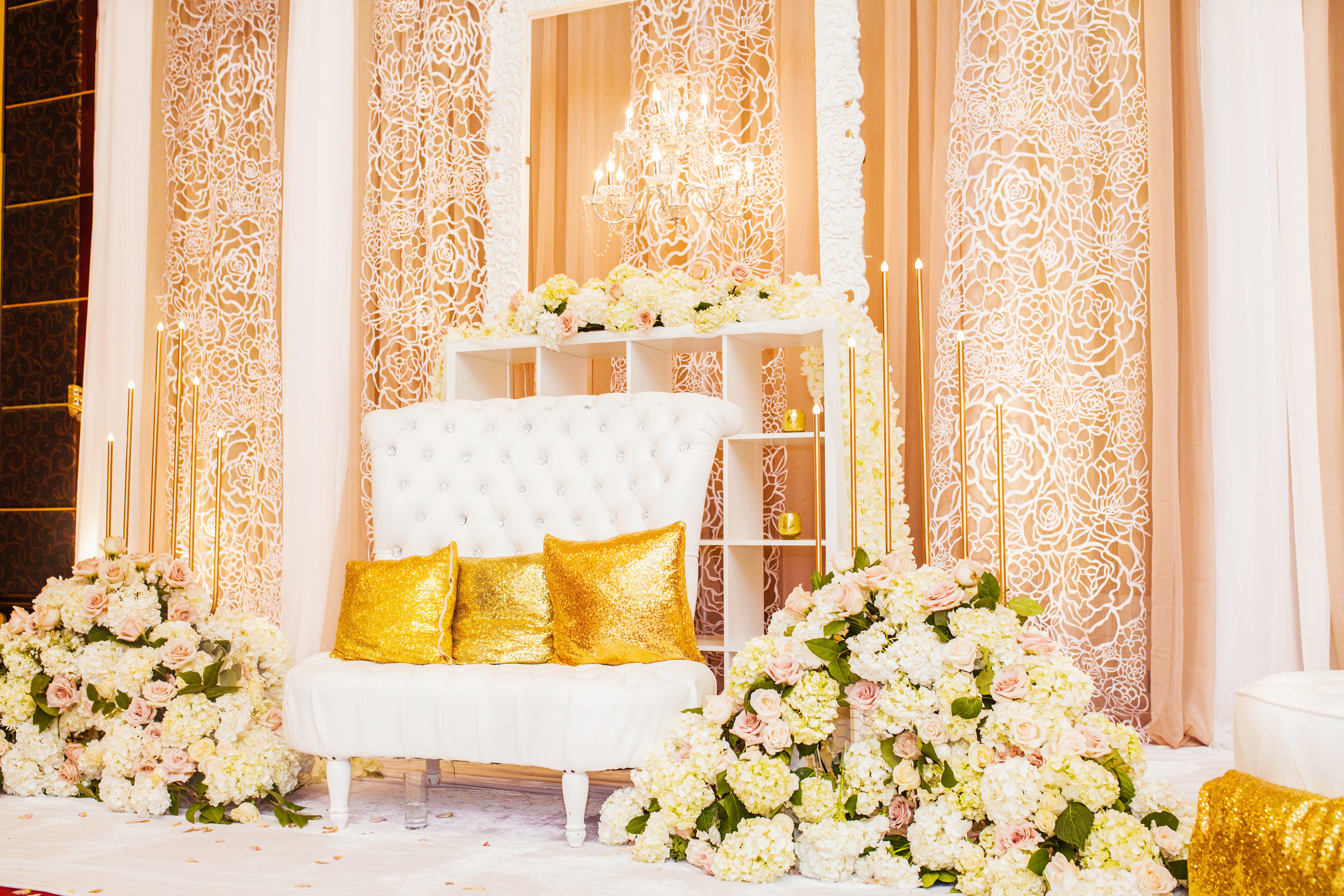 Karimah Gheddai Somali Weddings Toronto Florals Wedding decor white flowers Gold Decor Markham Convention Centre