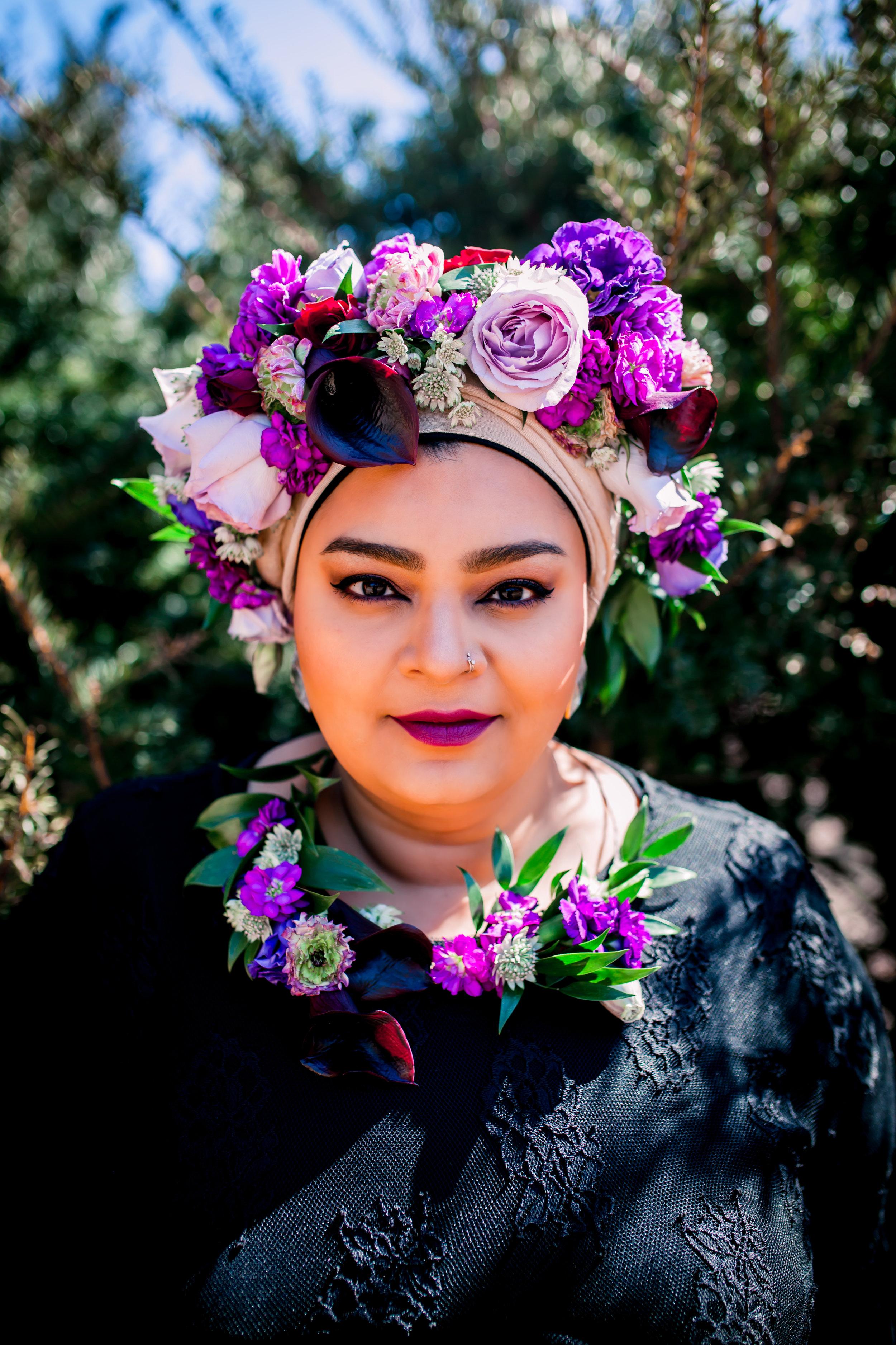 Toronto Photographer Purple Floral Crown Flower Crown Inspiration Canada Photography Portraits Photograph  photo shoot headshot color florist Guildwood park Karimah Gheddai