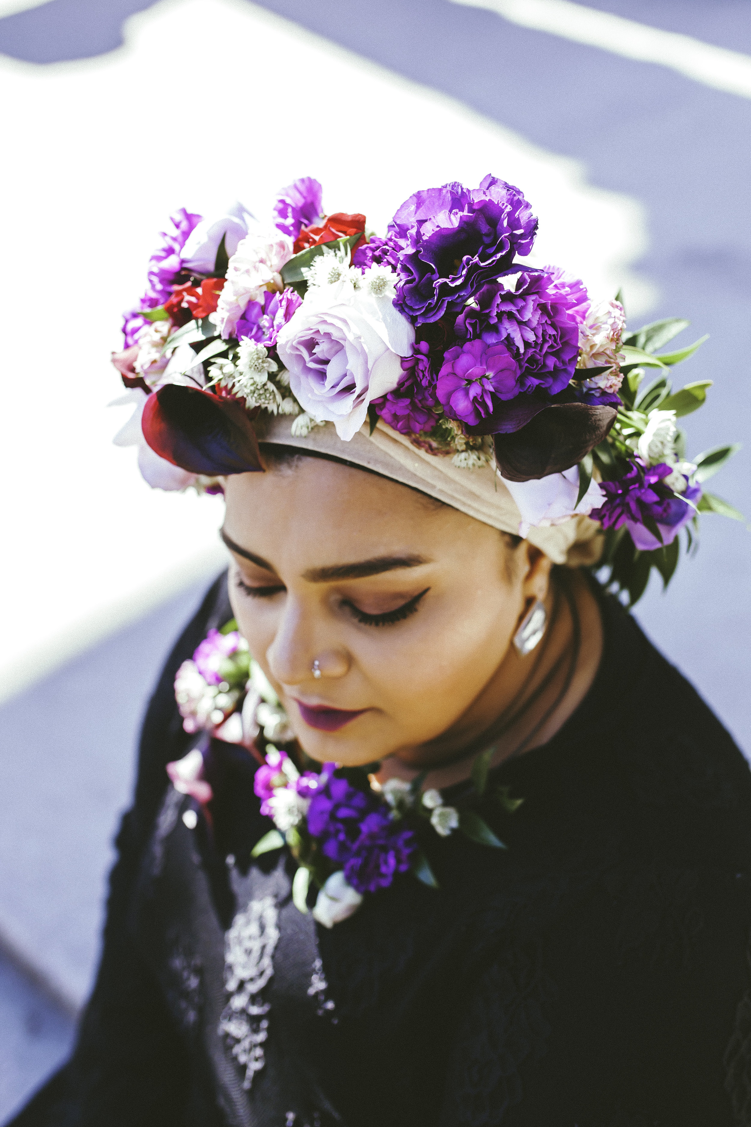 Toronto Photographer Purple Floral Crown Flower Crown Inspiration Canada Photography Portraits Photograph  photo shoot headshot color florist