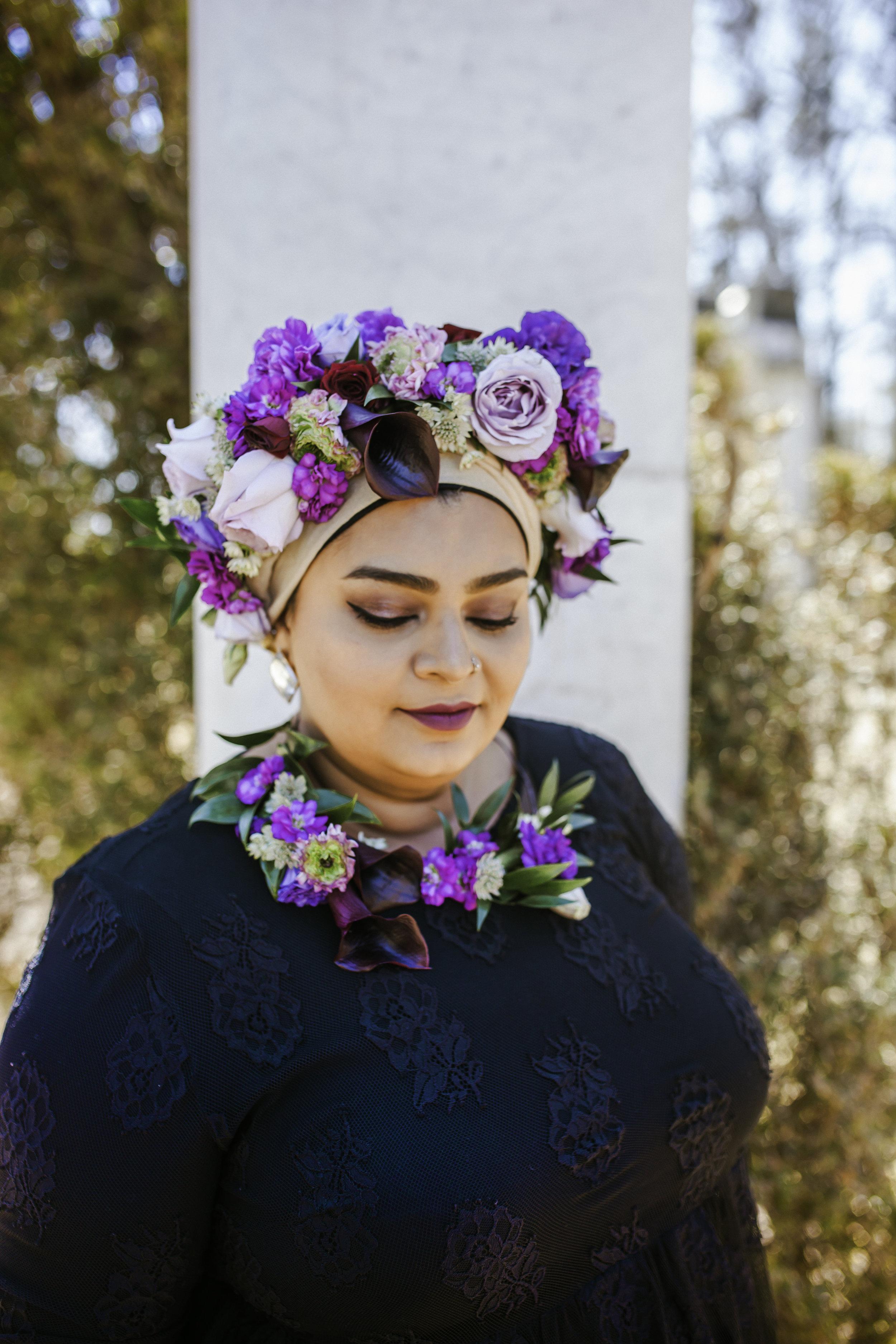 Toronto Photographer Purple Floral Crown Flower Crown Inspiration Canada Photography Portraits Photograph  photo shoot headshot color florist Guildwood park