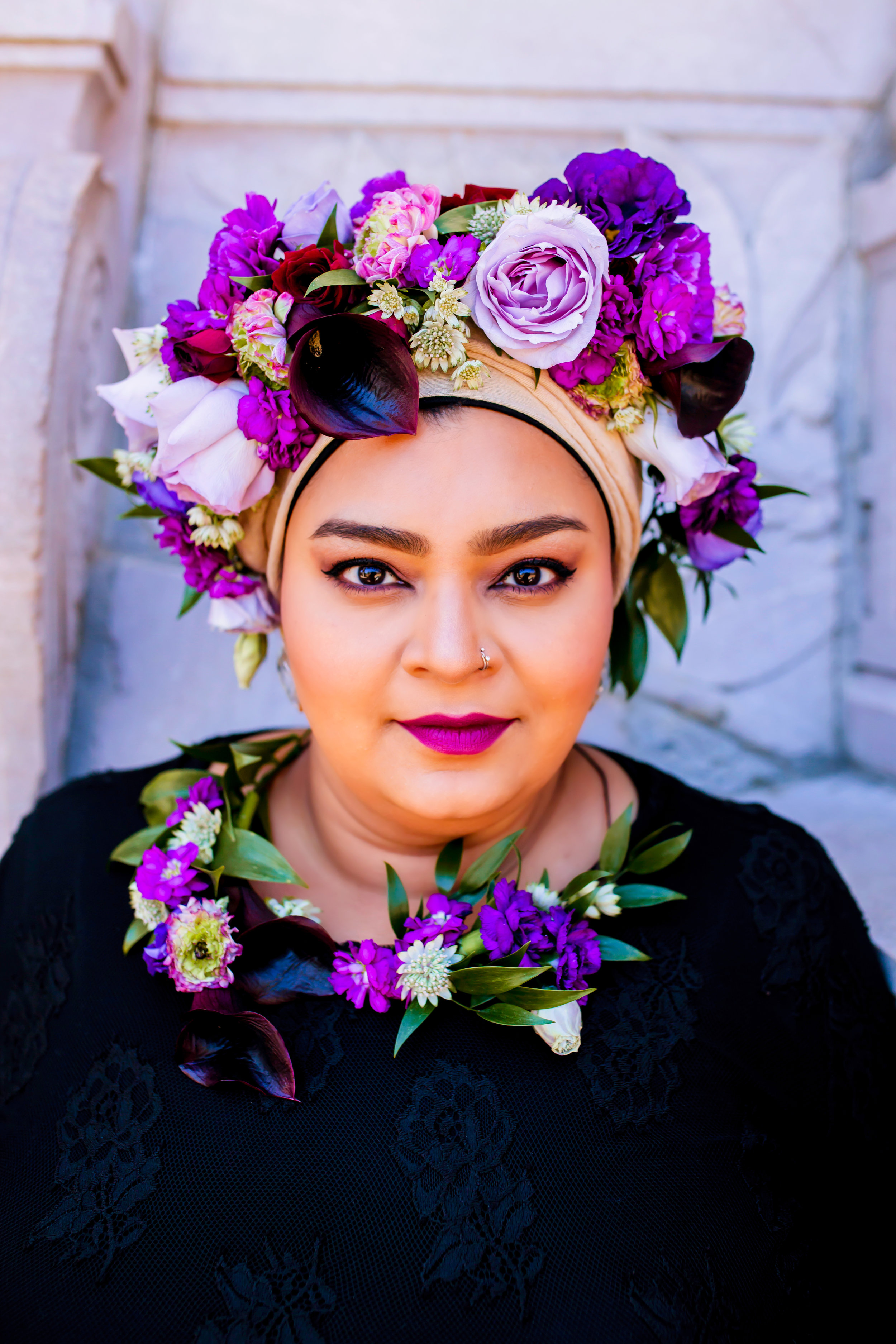 Toronto Photographer Purple Floral Crown Flower Crown Inspiration Canada Photography Portraits Photograph  photo shoot headshot color florist Guildwood park Karimah Gheddai