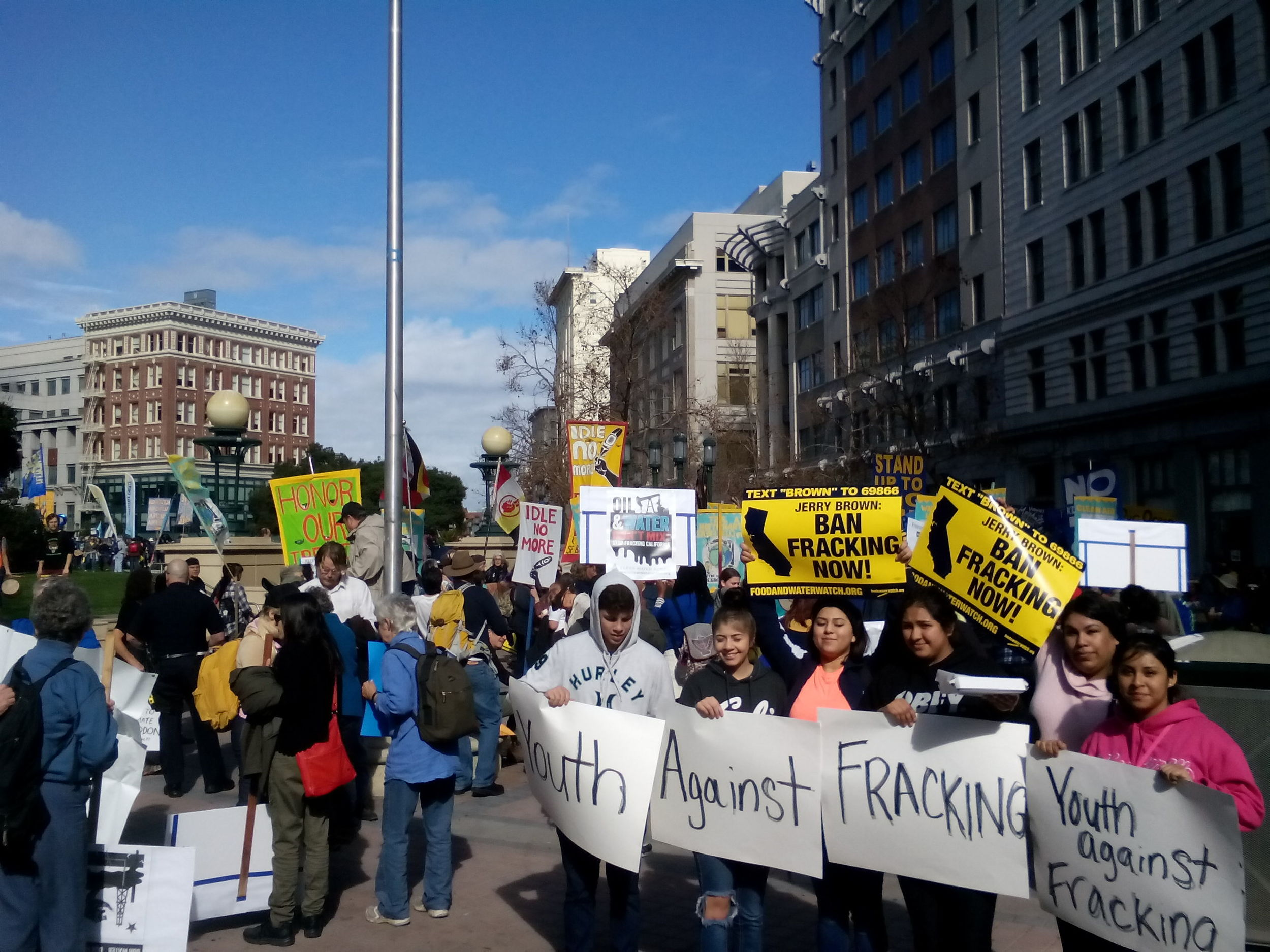Feb 7, 2015 - Madera Youth Leaders attend the March for Real Climate Leadership in Oakland, to protest fracking, an important Land Use issue. High school students traveled to the East Bay for the first time in their lives and marched through the streets of downtown Oakland with thousands of people to bring attention to the threat of fracking. Protesters called for a statewide ban on the practice, which involves mining for natural gas by blasting a mix of chemicals deep into the Earth's crust.
