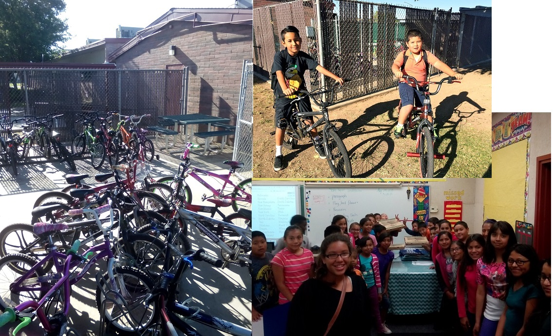 May 29, 2015 - MCCJ organized a Bike and Walk to School event at James Monroe Elementary to highlight the lack of safe routes to school in that area, as well as promote alternative transportation and improving our air quality. The class with the most number of students who biked or walked, won a free pizza party for their entire class.