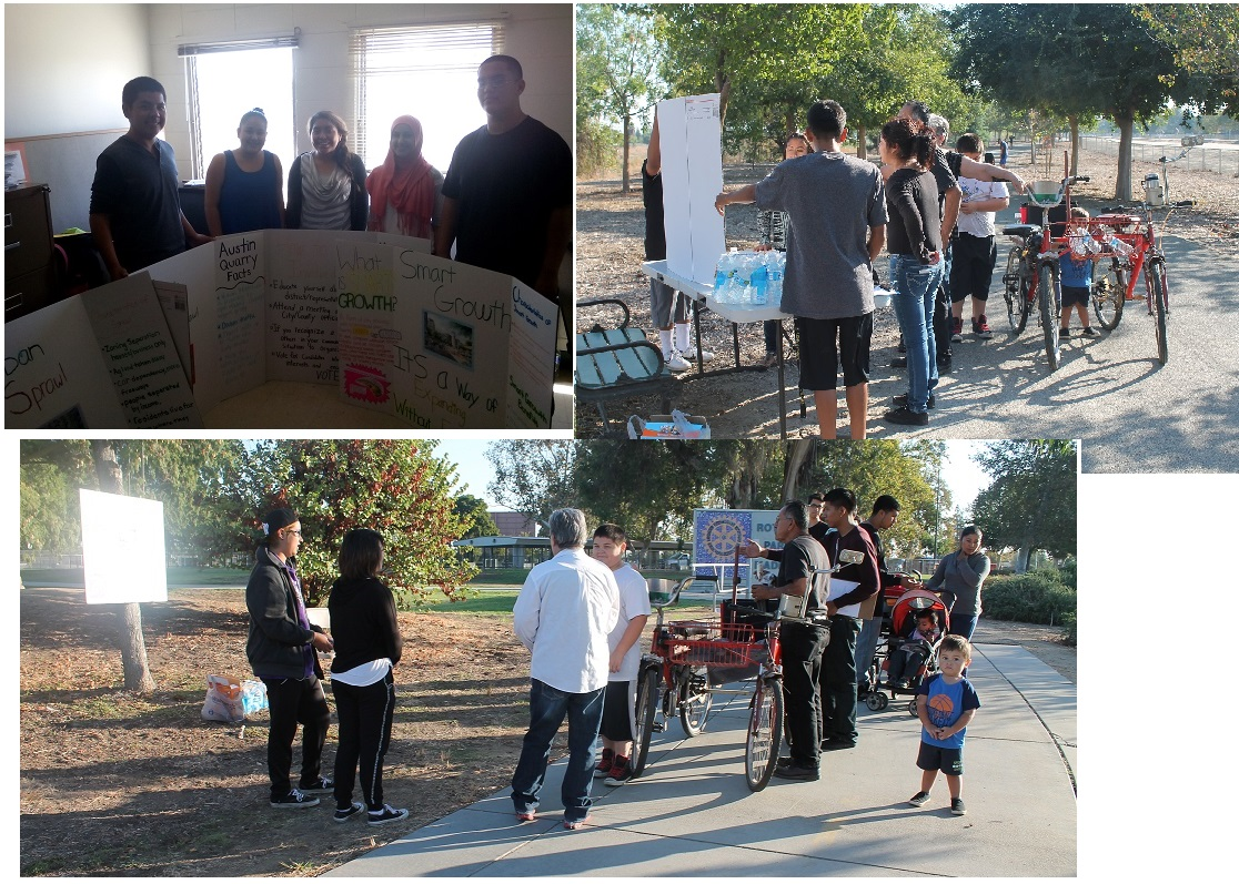 October 3, 2015 – Youth created poster boards for public presentations on the topics of Smart Growth, urban sprawl and land use. The posters cover four aspects of land use: What is Sprawl, Hazards of Sprawl, What is Smart Growth, and How to get involved in the community on the topics of urban sprawl and its alternative - Smart Growth planning. They set up along four stations throughout the trail, and presented their information to the public..