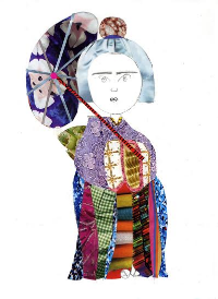 Alyssa's collage of a Japanese Geisha displayed on the 12th floor of Lurie Children's Hospital of Chicago