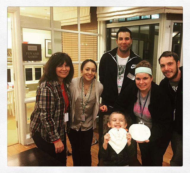 Art Night at RMH in Chicago - Yoli, Tara and Danny with 4 year old David and his parents Valerie and Devon with their sculpey Clay handprints!