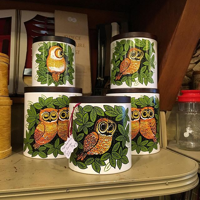 Just in!  Set of 5 Ransburg 1960s owl canisters!  Metal with wooden tops. $75 for the set. (Smaller set is on ebay for $109 plus shipping.)