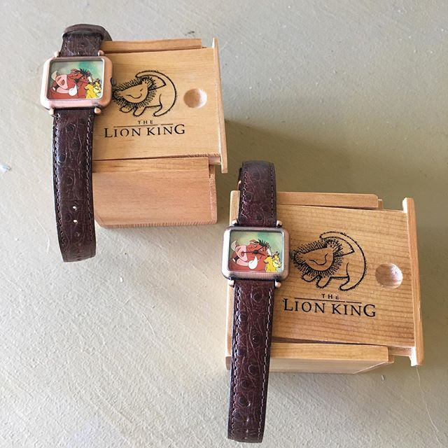 1995 Lion King, Timon & Pumbaa watches.  Includes box and extra light brown band for each.  Large watch is $35, smaller is $30. (These were Walt Disney Credit Card exclusives and are retired styles.)