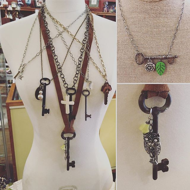 Finally got into my stash of old keys this week!  Handcrafted necklaces with lots of detail (and lots of work). Prices are $25 to $30 each.