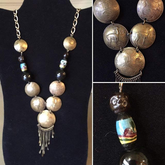 "Vintage Peruvian coin necklace pieces back together with ""new"" vintage chain from NYC. $28."