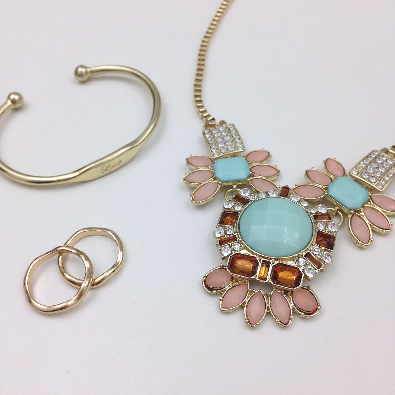 Hippie Cartel Fiona Mint Blue Bib Necklace, Stella Engraved Love Cuff, & Maddelena Gold Ring Duo