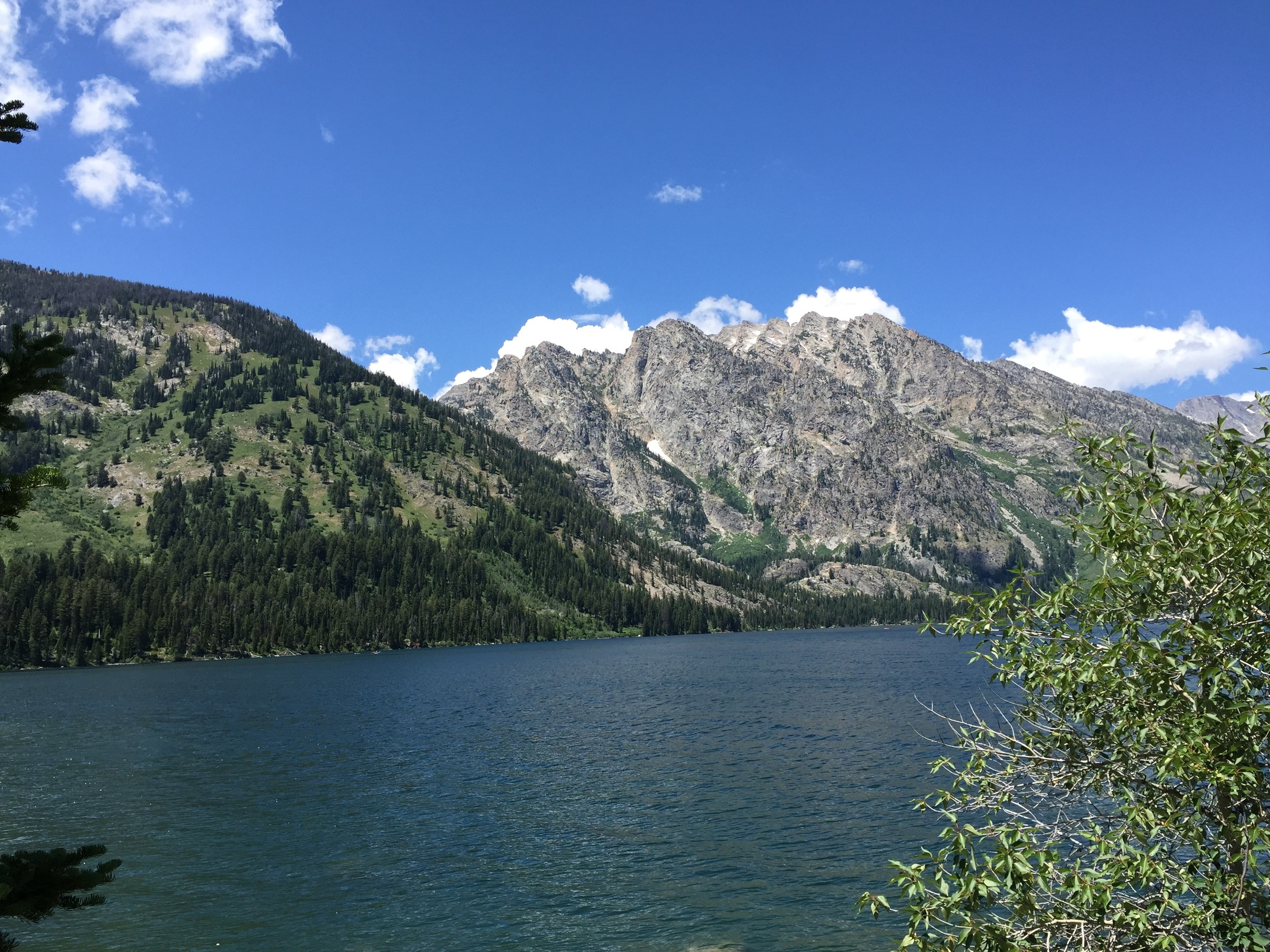 Looking across Jenny Lake. We would hike in the valley between the rocky mountain and the green mountain.