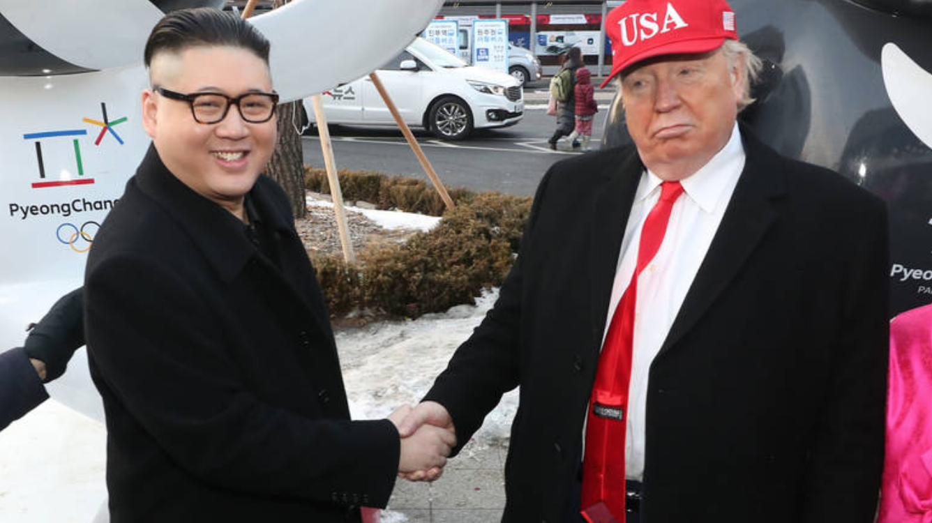 Kim Jong-un and Donald Trump lookalikes meet at the Pyeongchang Winter Olympics in 2018. (courtesy: EPA)
