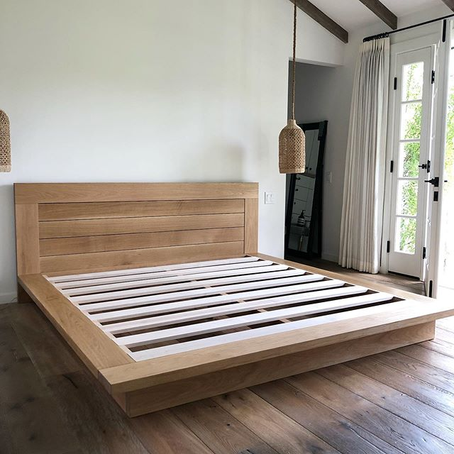 King white oak platform bed with slatted headboard.  I just dropped this bed off Saturday for a great repeat client.  I love my claro walnut bed I made for myself but I really love the lines on this one and how it floats above its base.  #platformbed #whiteoak #kingbed #santabarbara #montecito #modernbed #californiamodern
