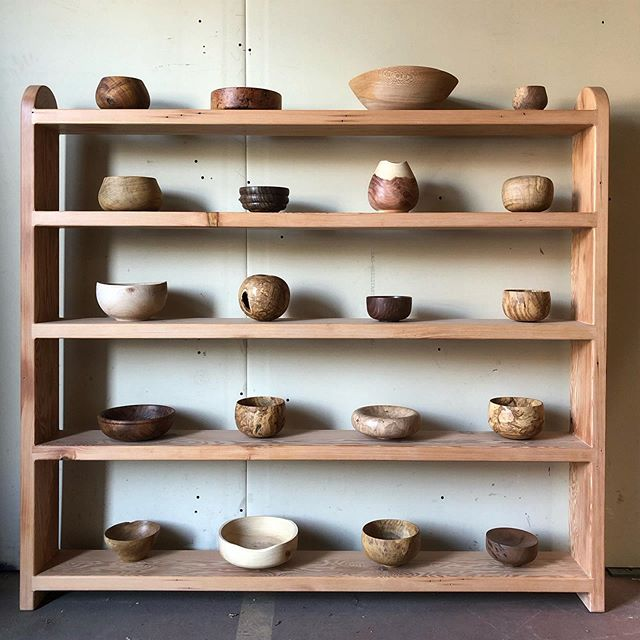 Some older turnings on a newer shelving unit.  All locally salvaged or reclaimed.  #oldgrowthredwood #blackacacia #sycamore #cypress #juniper #olive #maple #clarowalnut #douglasfir #eucalyptus
