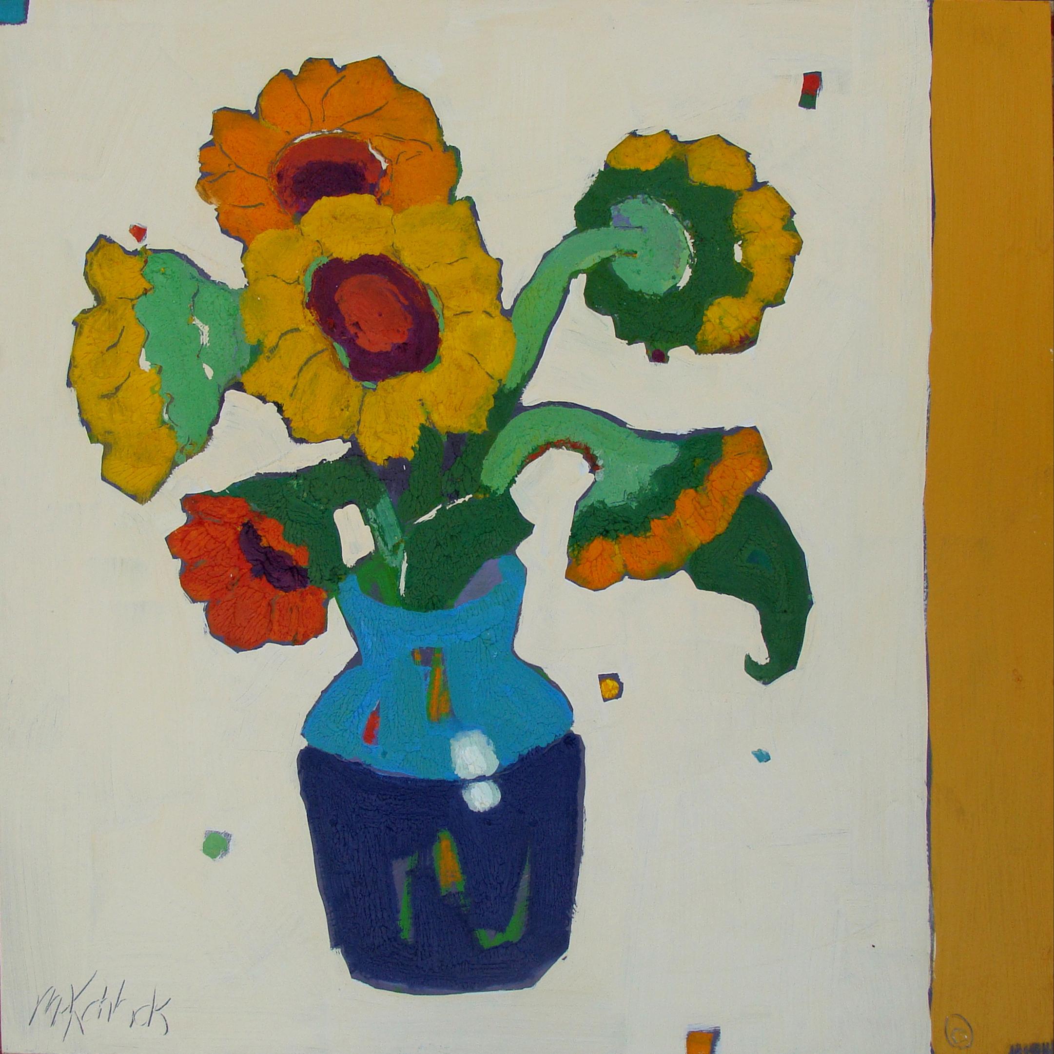 "Sunflowers Blue Vase 36x36"""