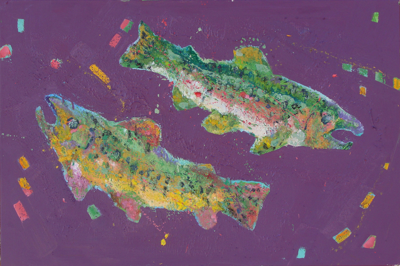 """Two Trout 24x36"""""""