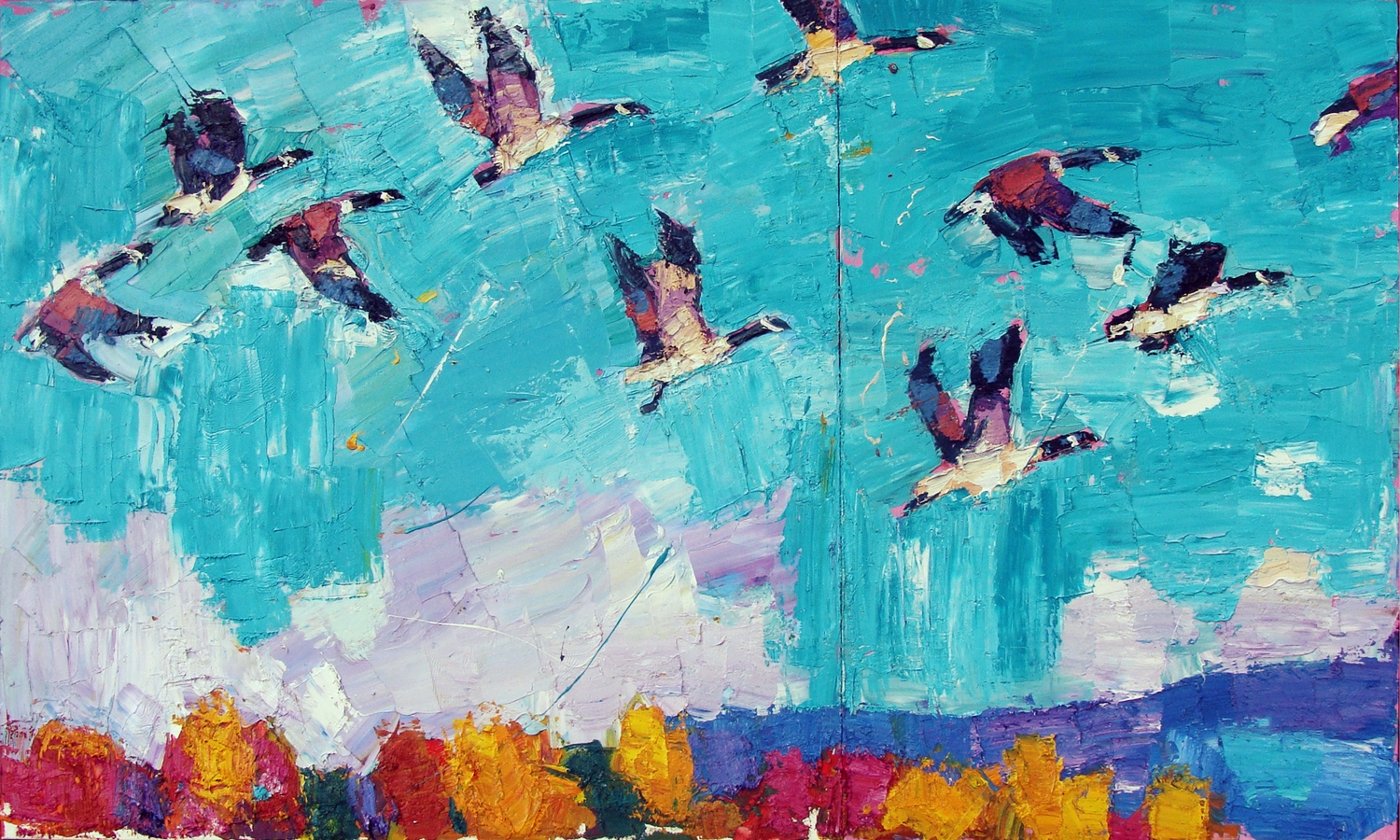 """Take Off diptych 60x36"""""""
