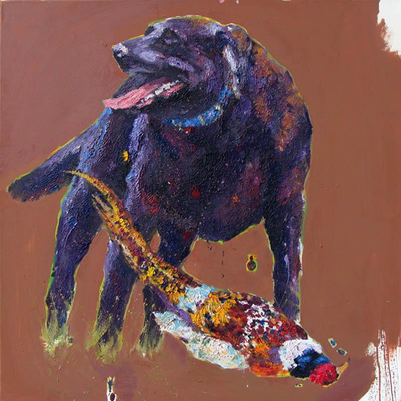 "Dog with Pheasant 40x40"""