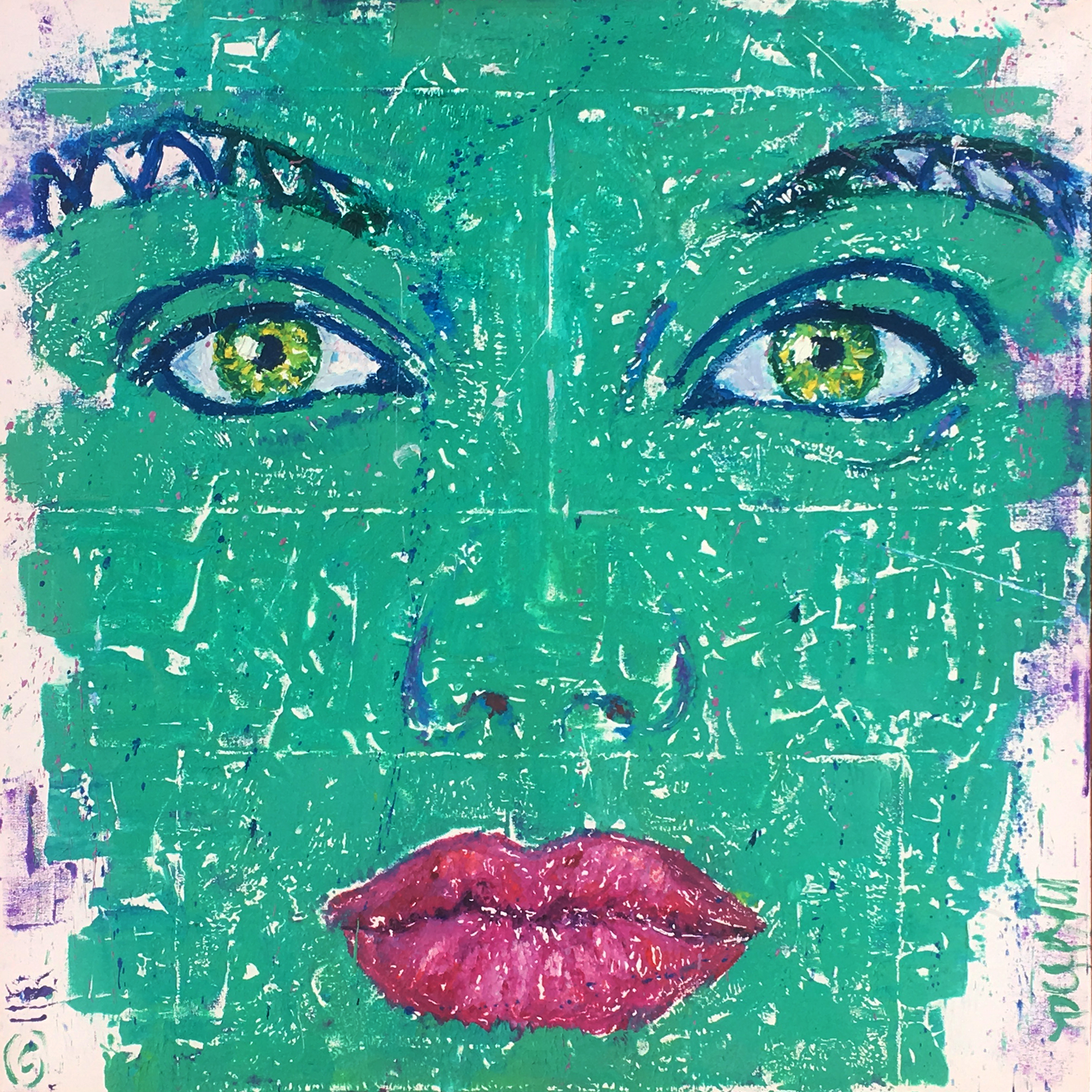 """Green Face Mono 36x36"""""""