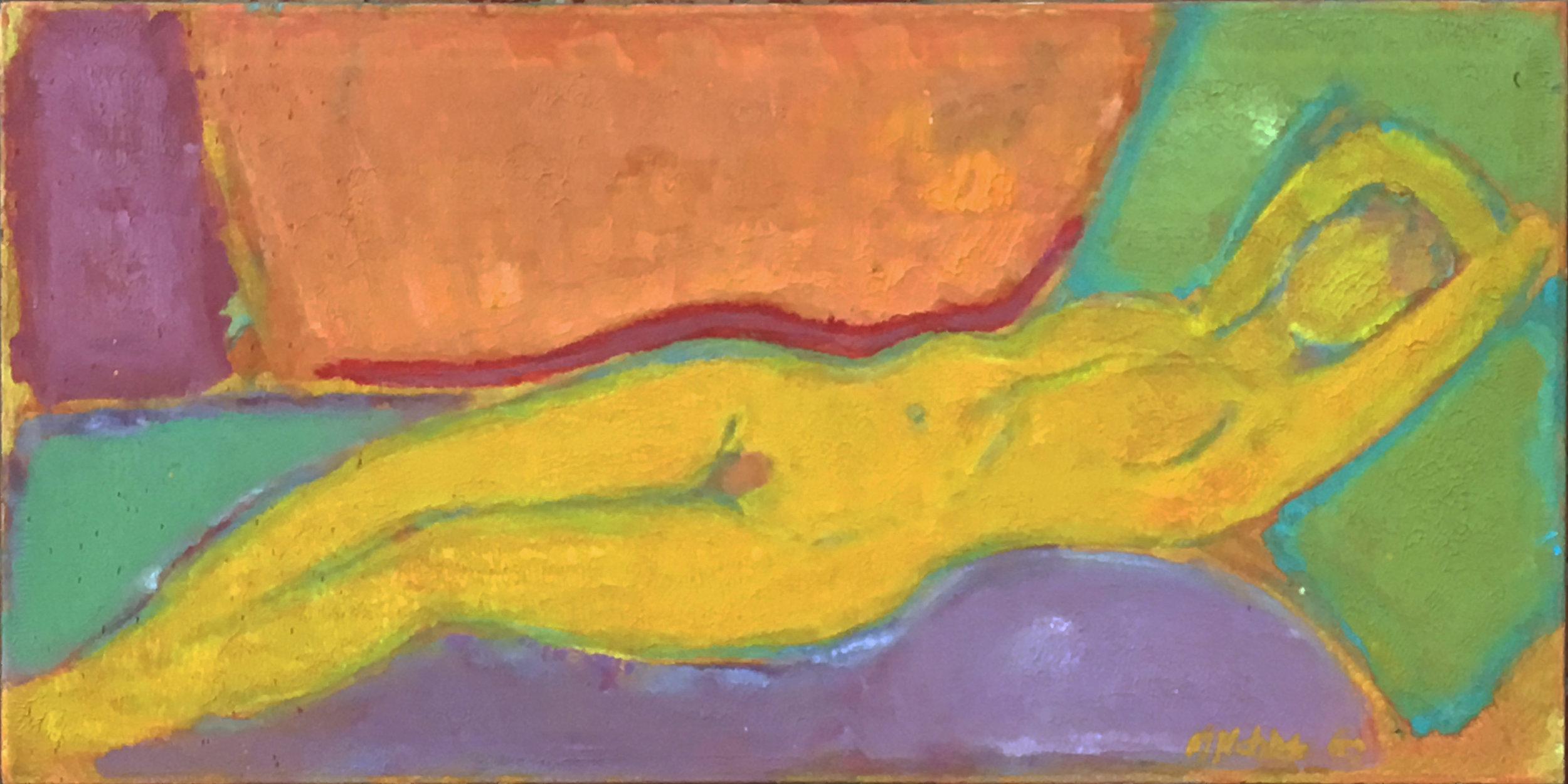 "Yellow Reclining Nude 18x36"""