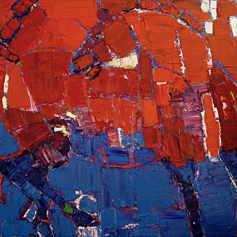 """Red Blue Horse  48x48"""""""