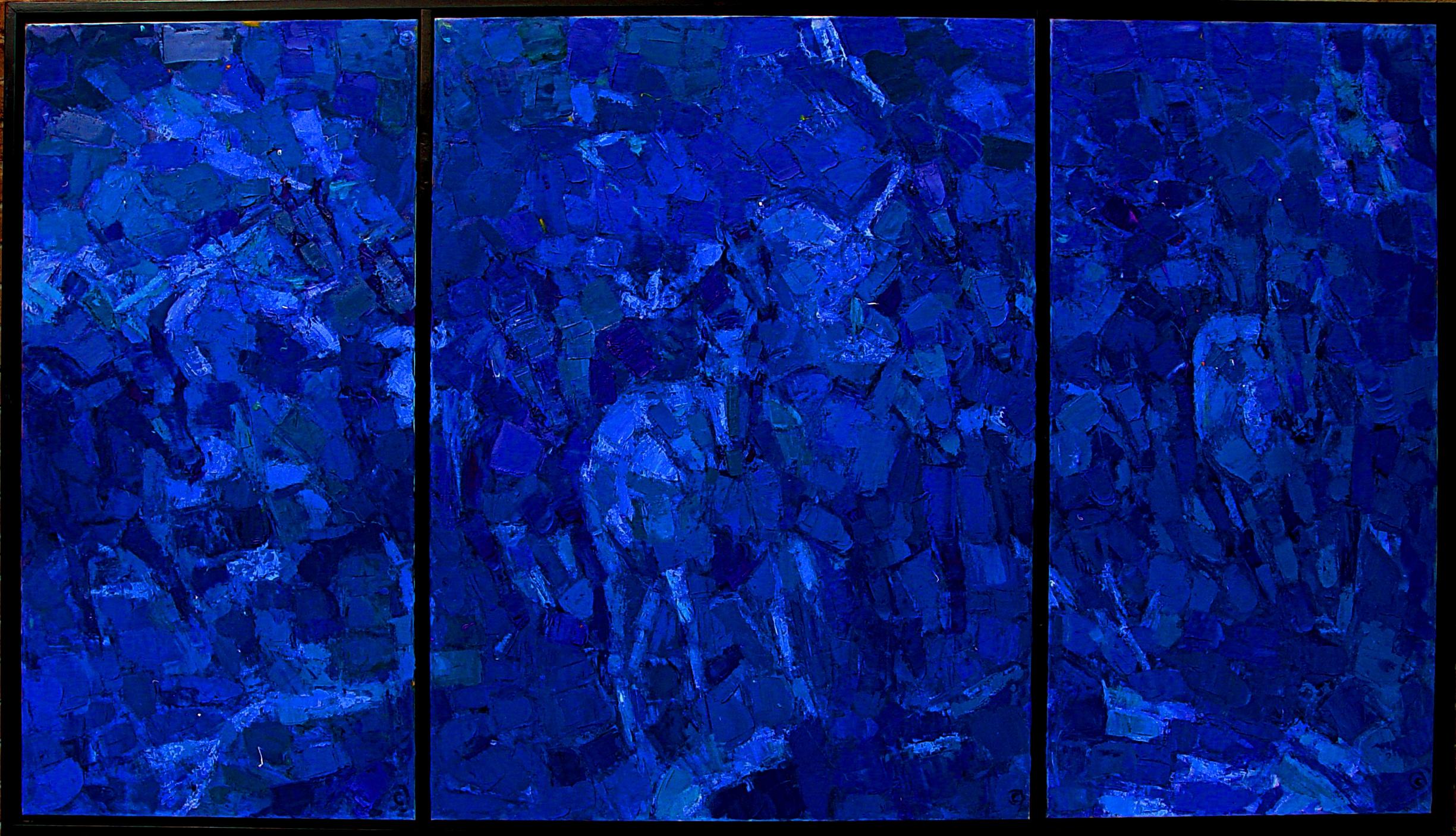"Blue Horses Triptych 48x84"""