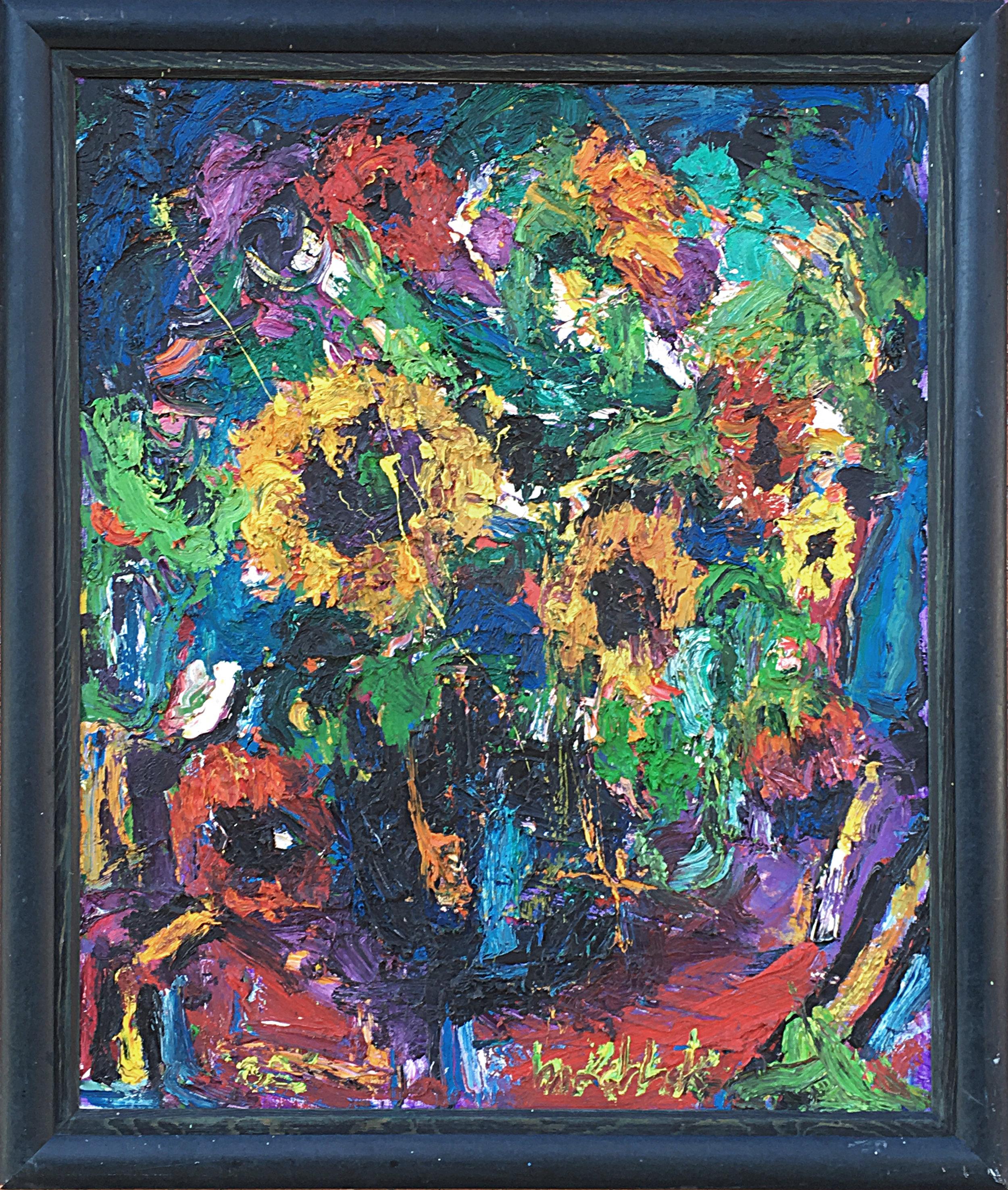 "Sunflowers Black Vase 36x30"""