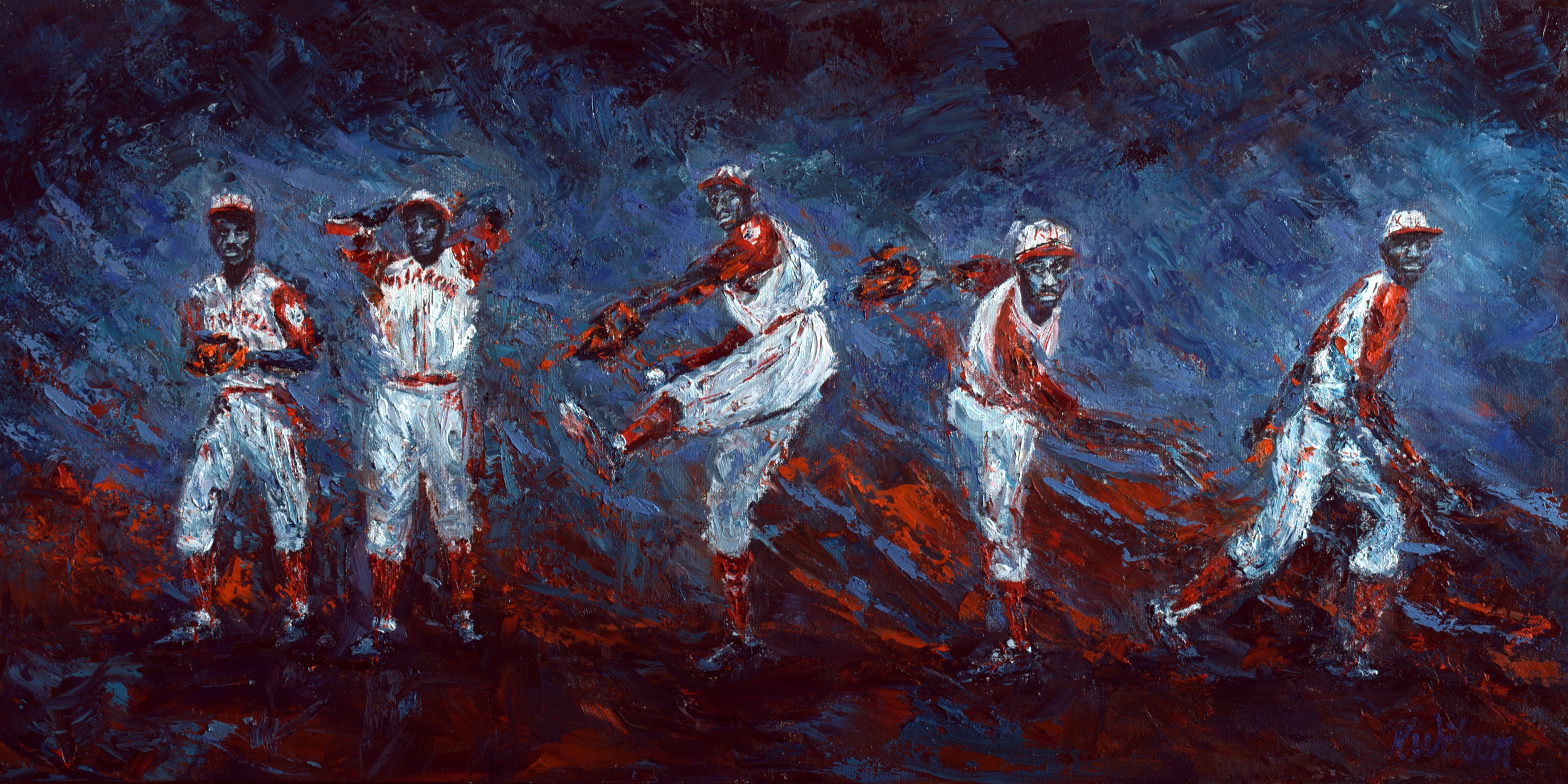"Painting depicting Satchel Paige striking out Josh Gibson IN the 1942 Negro Leagues World Series... ""A Pea at Your Knee"" by Ken Wilson."