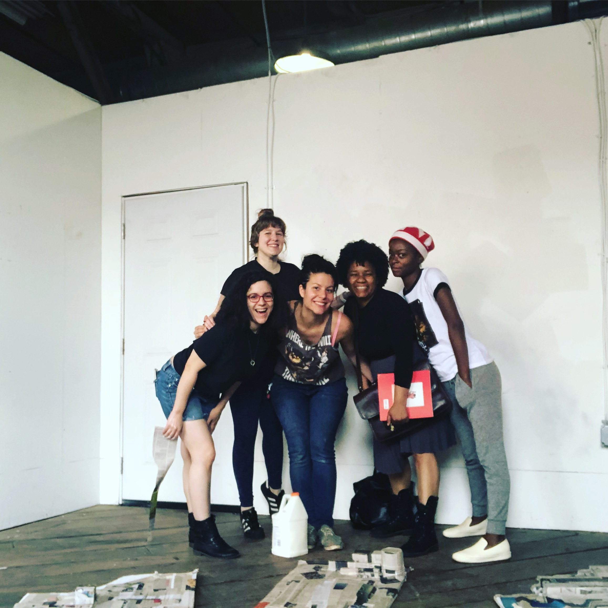 From Left to Right: Angela Bortone, Haylee Anne, Jessica Caldas, Angela Davis Johnson and Danielle Deadwyler. This picture is from an early mural work session in Jessica's TCP Goat Farm Studio.