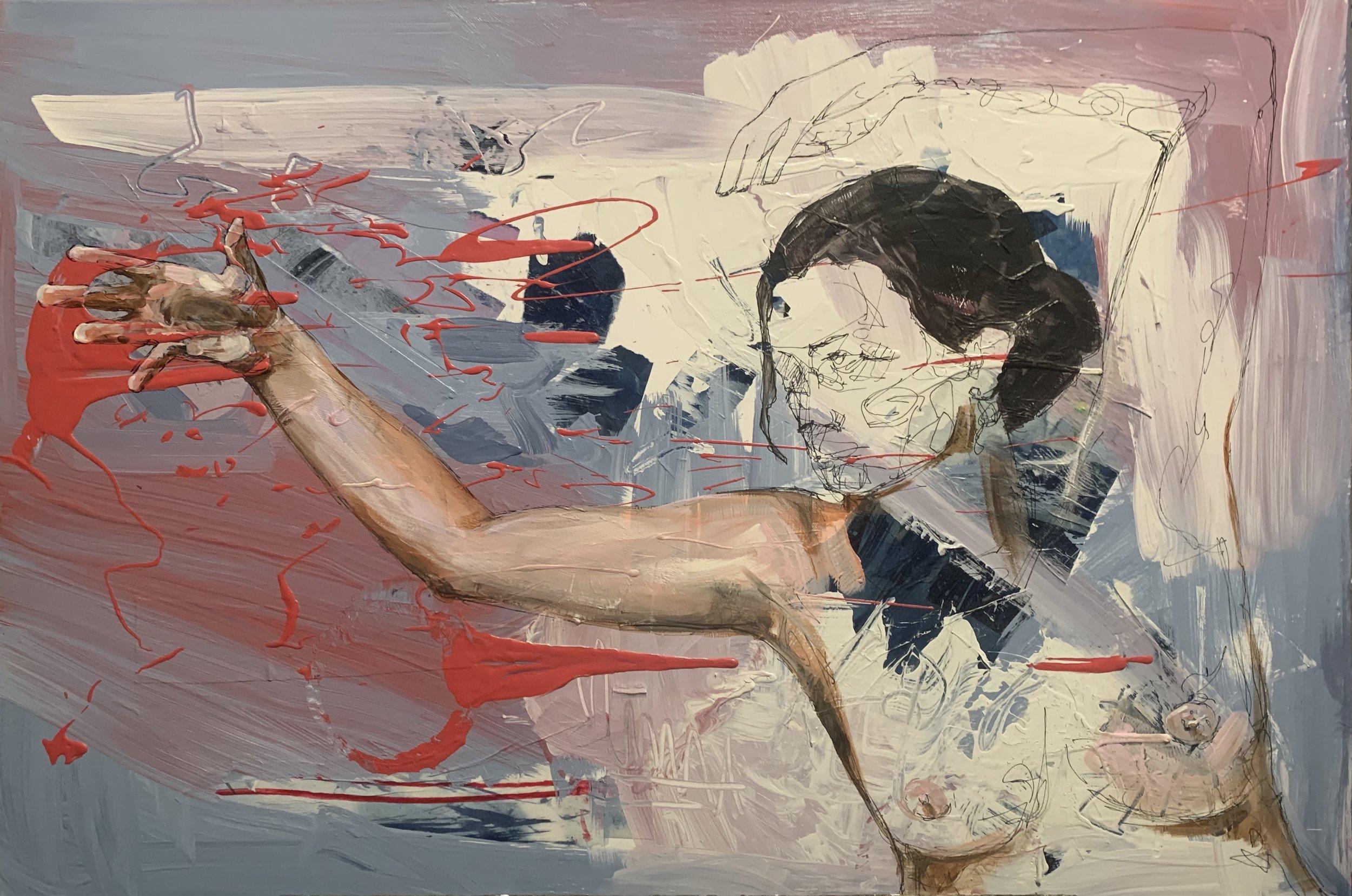 "Electric by Krista M. Jones  Medium: Mixed Media on Canvas  Size:36"" x 24'  Contact Krista for inquiries at  https://www.jonesyartatl.com/contact"
