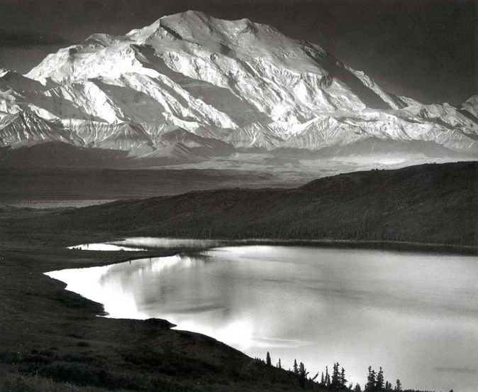 Ansel Adams' famous photo of Wonder Lake and Mount McKinley (which is now named Denali)