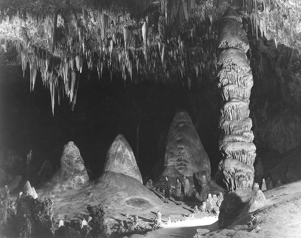 This is a 1941 Ansel Adams photo of Carlsbad Cavern's 'Big Room' with the Rock of Ages