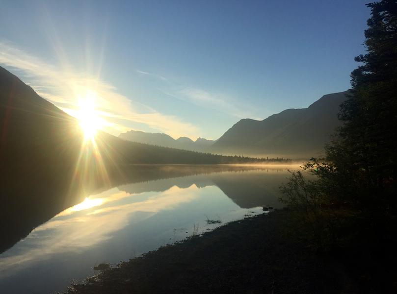 Sunrise from our camping spot on Lake Kontrashibuna