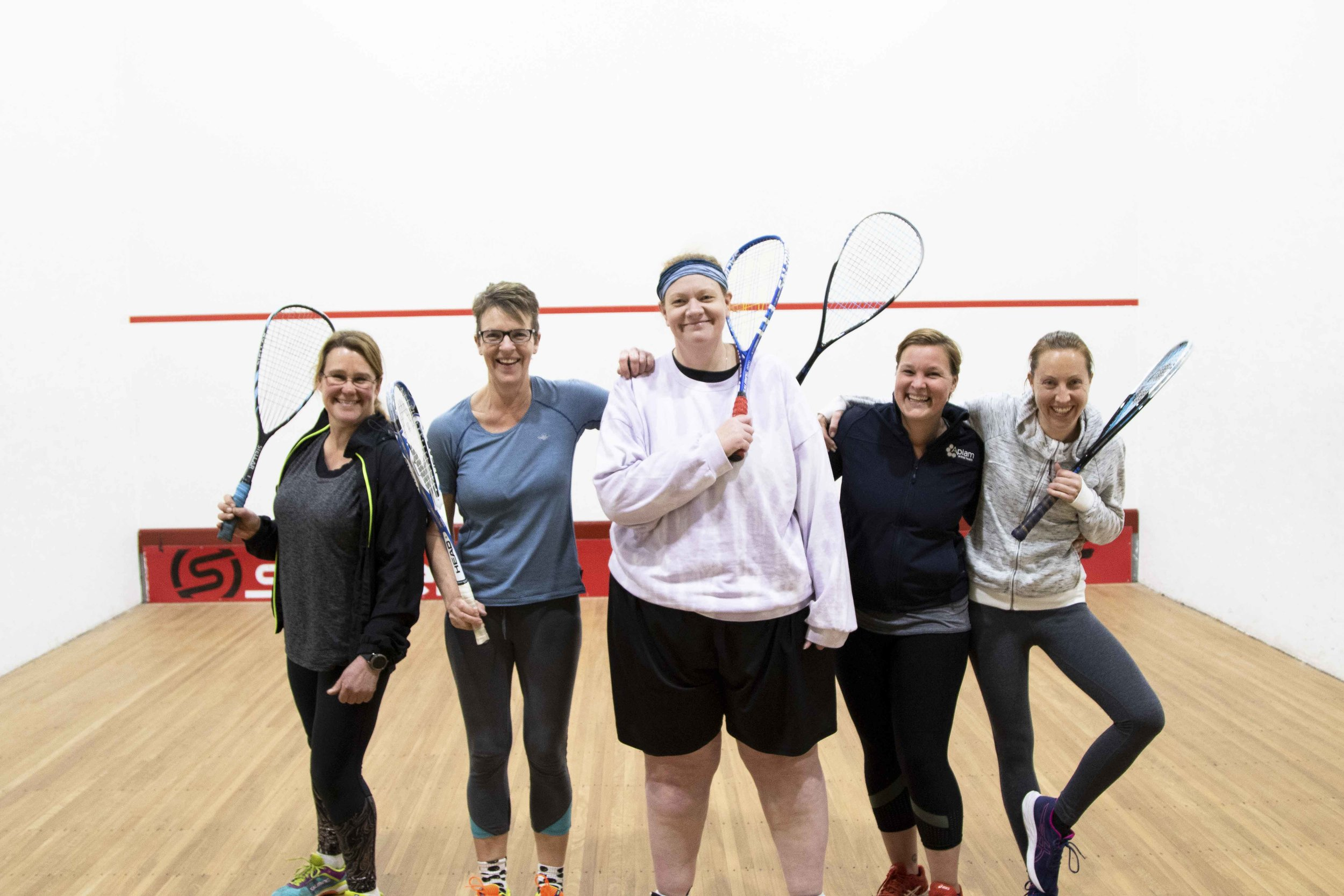 We probably burn more calories laughing than playing squash.