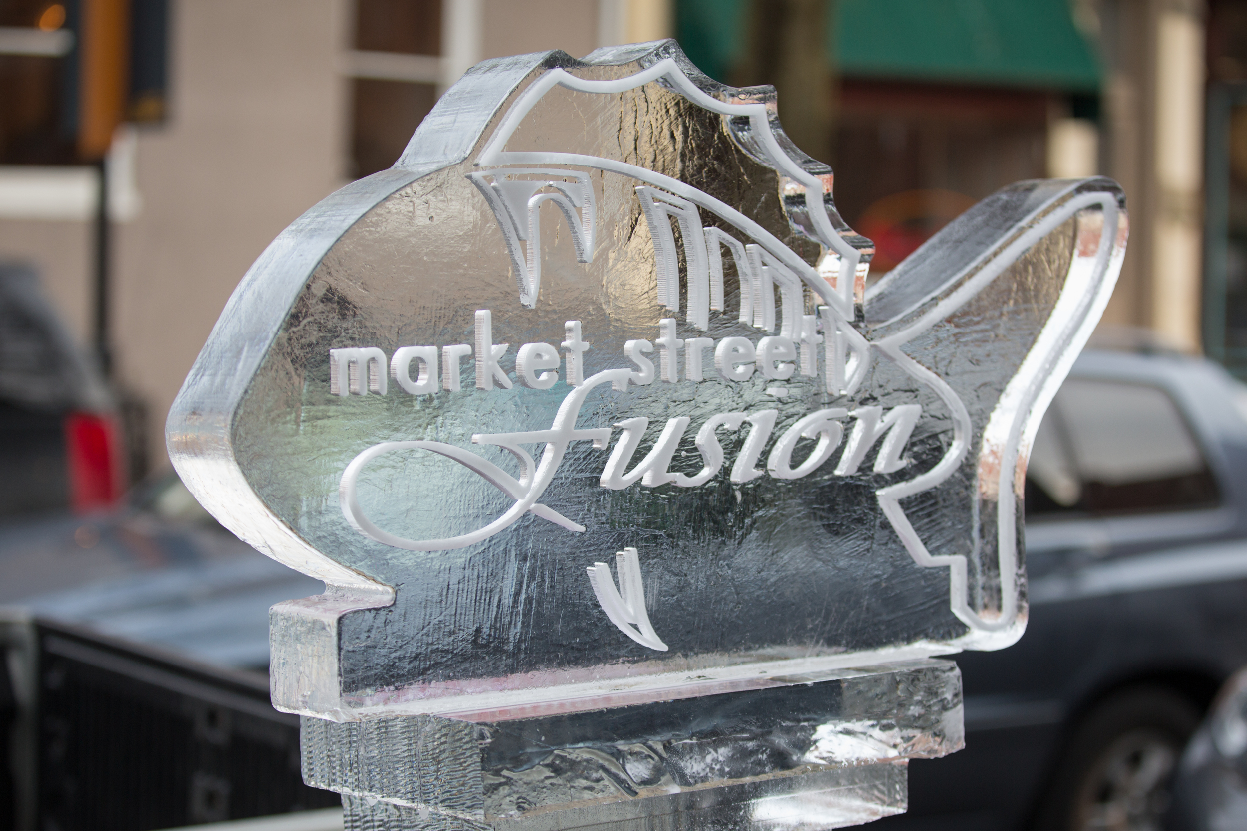 A customized ice sculpture for  Market Street Fusion