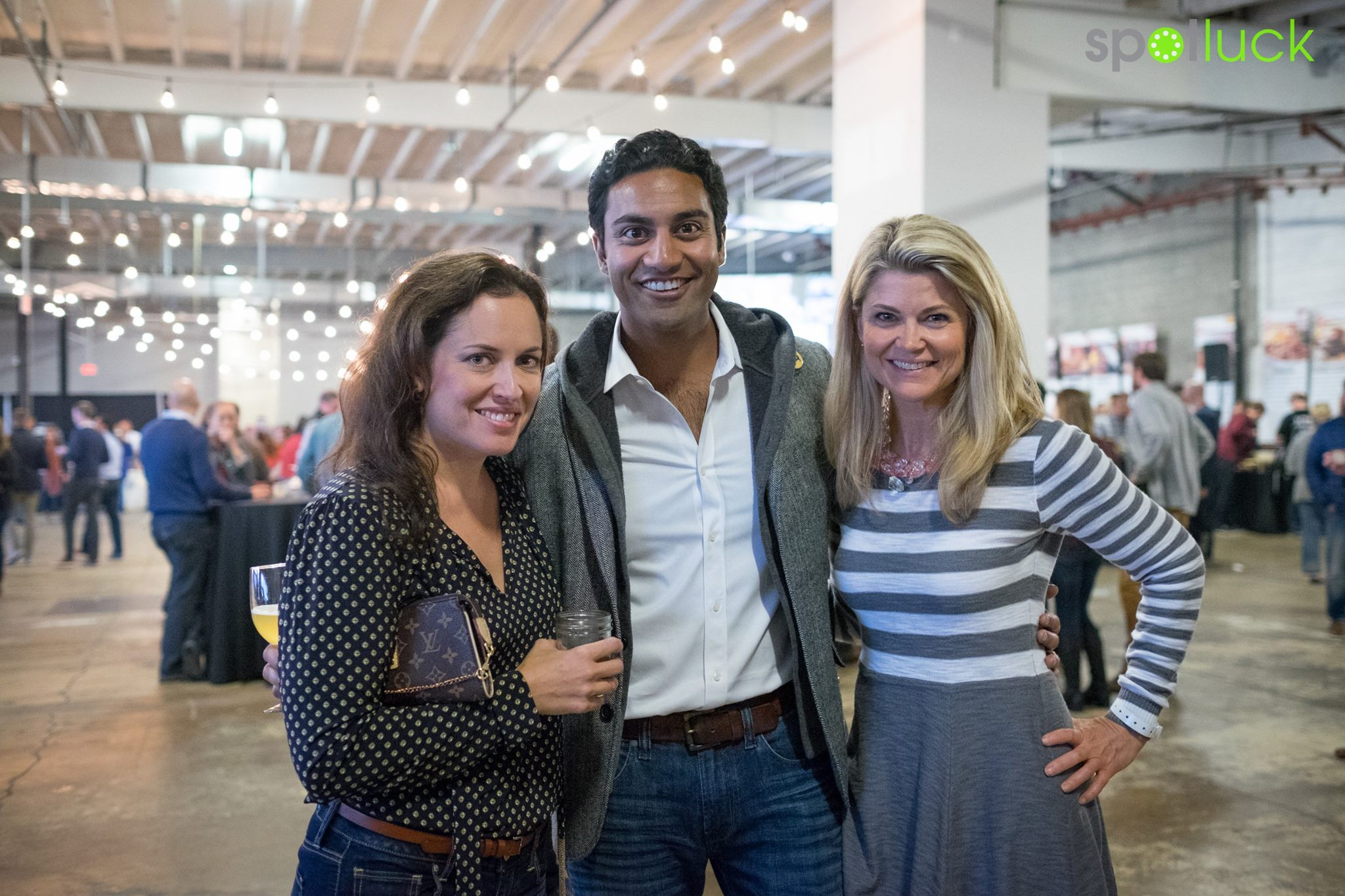 Spotluck's Cherian Thomas (center) with Ingrid Sanden (left) and WNEW's Kimberly Suiters (right) at Cochon555.